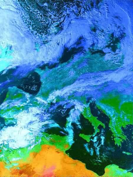 NOAA-14 VIS/Falschfarben 28.02.1999 14:00 UTC